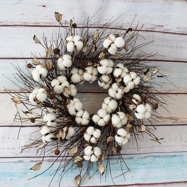 Cotton Wreath Shabby Cottage Beach Prairie Chic Home Decor Door White Wall Art Candle