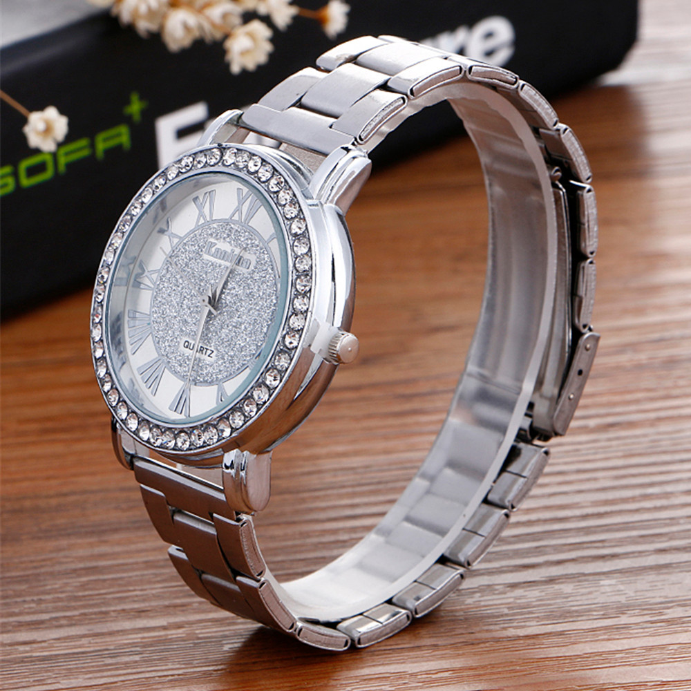 2017 Luxury Diamond Stainless Steel Sport Quartz Wrist Hour Dial Watch relogio feminino erkek kol saati mens watches skmei saat julius quartz watch ladies bracelet watches relogio feminino erkek kol saati dress stainless steel alloy silver black blue pink
