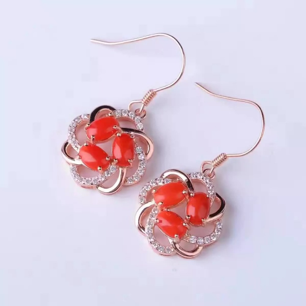 natural red coral drop earrings 925 silver Natural gemstone earring for women elegant fashion drop earrings jewelry engagement