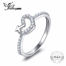 JewleryPalace Love Heart Cross Ring Real 925 Sterling Silver Jewelry For Women Ring For Lover Gift Brand New Fine Jewelry