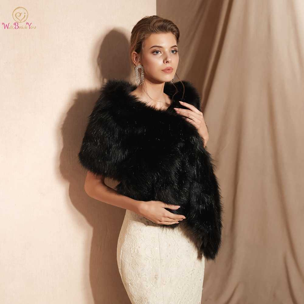 100% Real Pictures Black Party Evening Jacket Wrap Faux Fur Wedding Cape Winter Women Bolero Wrap Winter Shawl Stock