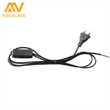 ASCELINA Switch on line Cable*3 PCS 1.8m On Off Power Cord For LED Lamp with Switch EU Plug Light Switching Black Wire Extension