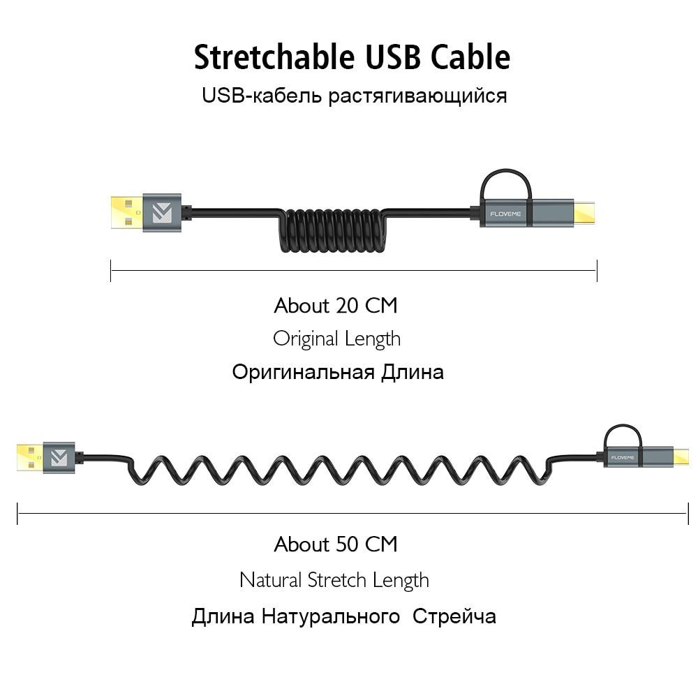 FLOVEME 2 i 1 Micro USB-kabel typ C QC 3.0 USB-C-kabel Snabbladdare - Reservdelar och tillbehör för mobiltelefoner - Foto 5
