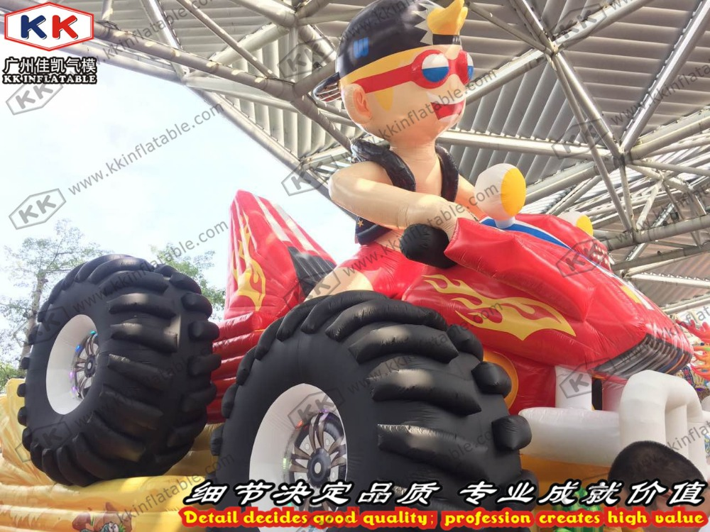 Large Outdoor Inflatable Truck Slide,Cool Boy Riding Jumping slide toys