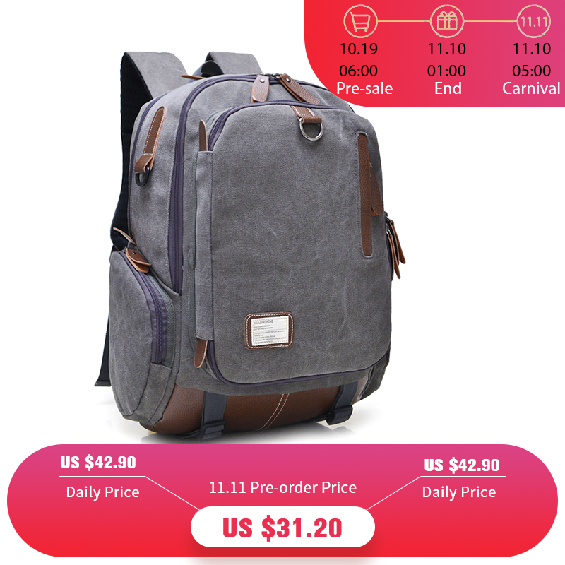 Large Capacity Vintage Canvas Travel Backpack Men Fashion Business Laptop Backpack Computer Bag Casual Rucksack School Bags 1247 men s leather canvas backpack youth large capacity vintage military backpack travel bags fashion casual women laptop school bags