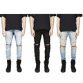 2017 New pants korean mens designer clothes fashion denim jumpsuit black/light blue skinny destroyed ripped distressed jeans