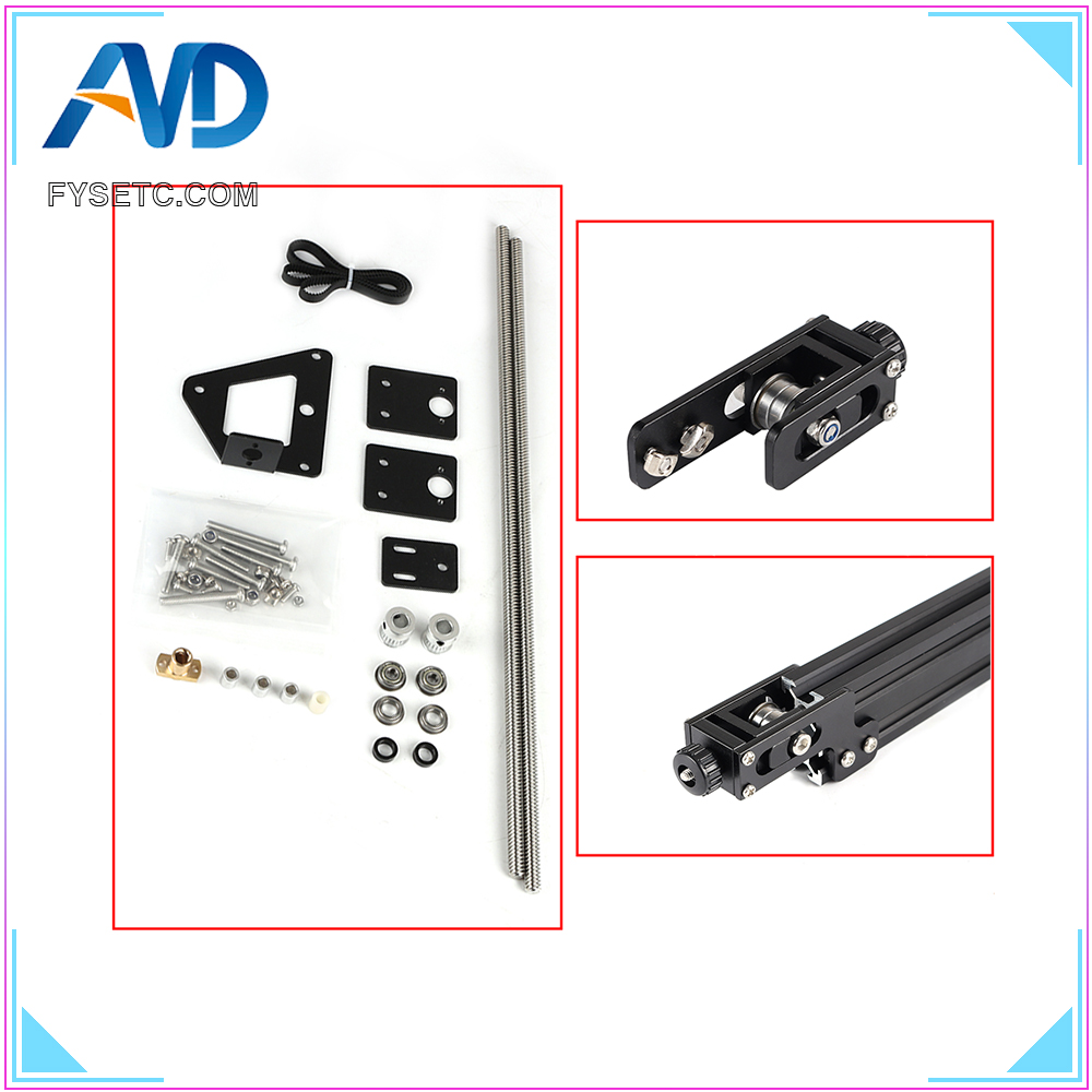 1Set Complete Aluminum Profile X axis Y axis Dual Z axi Synchronous Belt Stretch Tensioner For