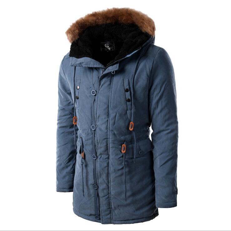 2017 nouveau hiver kaki Plus épais chaud manteaux Parkas coton veste mâle armée vert vêtements à capuche coupe-vent manteau pour hommes