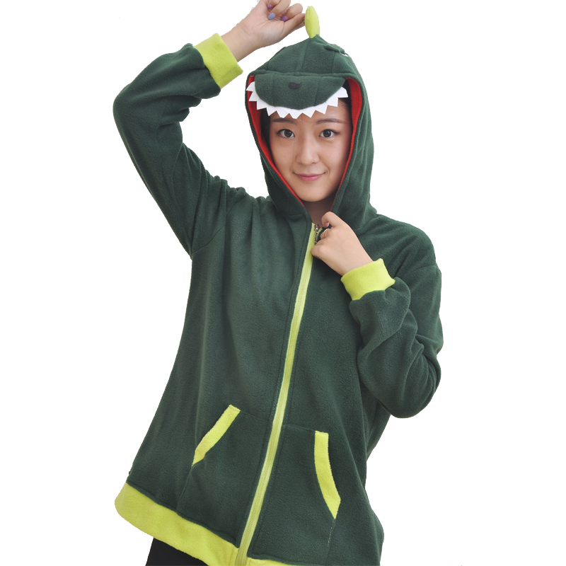 hoodies men women boys girls zipper with ears swearshirts pullover spring autumn cartoon dinosaur green pockets hooded jacket