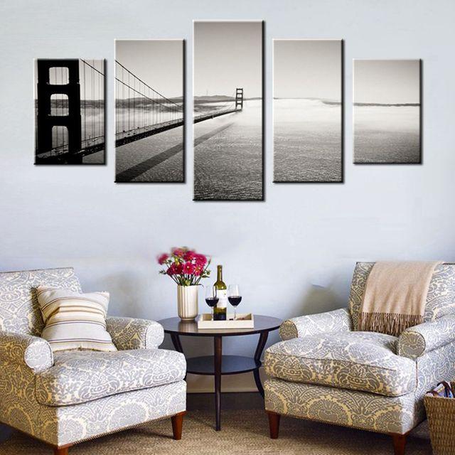 Blanco y Negro decoración de la pared puente Golden Gate San ...