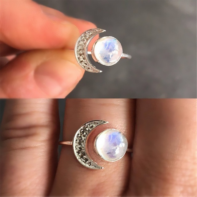 Exquisite Silver Color Ring White Moonstone Small Gem Jewelry Birthday Party Gif