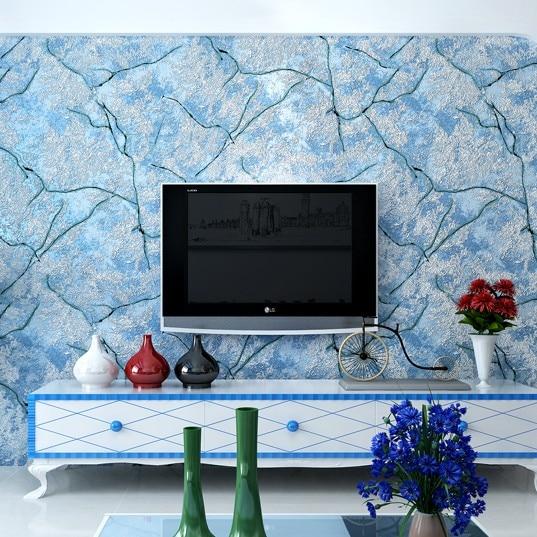 online kaufen großhandel blau muster tapete aus china blau muster ... - Wohnzimmer Blau Grun