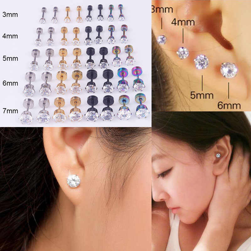 Sellsets Steel Barbell Zircon Cartilage Helix Tragus Lip Earring Sets 5pcs 3/4/5/6/7mm Titanium Anodized Fake Ear Plugs Piercing