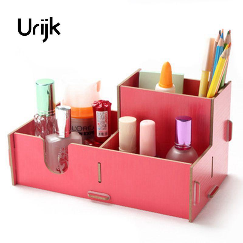 Urijk Wooden Cosmetics Storage Box Finishing Box Cosmetic Box DIY Office Organizer Desktop Wooden Pen Box Table Storage