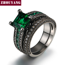 ZHOUYANG Top Quality 6mm CZ Created Diamond Created Emerald Square Ring Set Black Gold Plated Party Rings R689