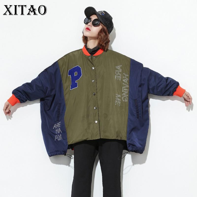 [XITAO] Europe Autumn 2019 New Women Full Sleeve Stand Collar Loose   Parkas   Female Letter Print Patchwork Irregular Coats XWW081