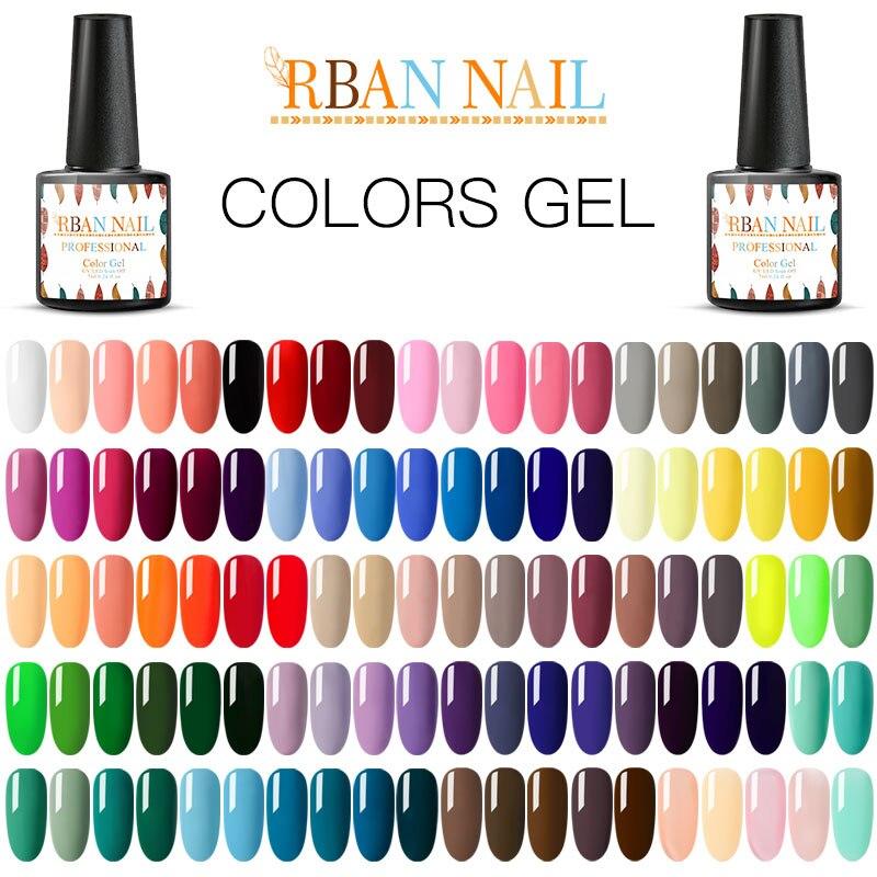 Vernis à ongles RBAN 7ml couleur Pure vernis à ongles UV 296 couleurs imbibent la laque dart de LED UV de vernis à ongles de Gel lumineux durable pour longle