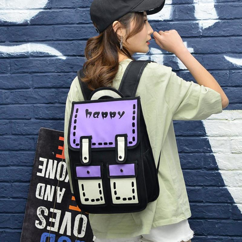3D Jump Style Backpack 2D Drawing Cartoon Preppy Style Knapsack Travel Bag Women Backpack Teenager School Backpack