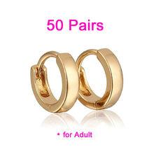 Серьги кольца женские золотистые 50 пар e0983