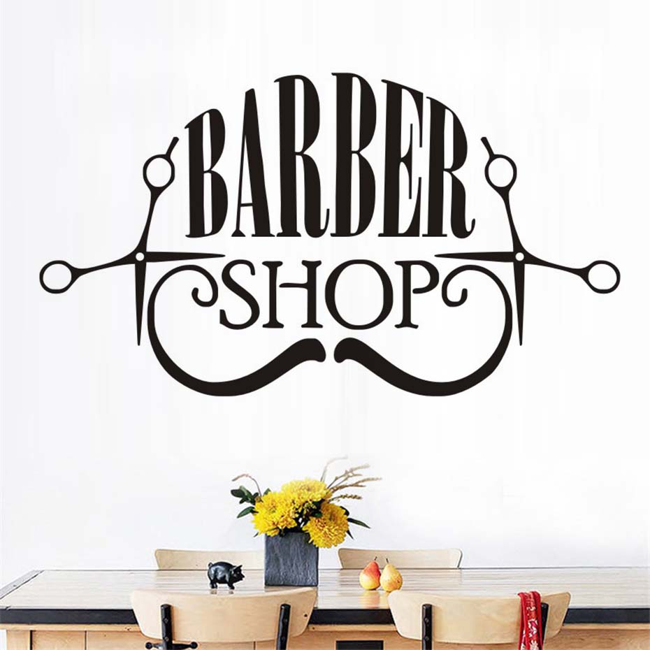Barber Shop Vinyl Wall Sticker Hair Make Up Shop Logo Art Decals Removable High Quality Wall Decals Self Adhesive Wallpaper
