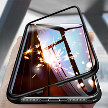 цена Magnetic Flip Case For Samsung Galaxy A7 2018 A8 A9 A7 2018 A750 Case Glass Back Cover Metal Frame For Samsung J4 J6 Plus Case