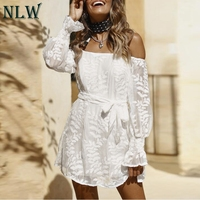 NLW Solid Bow Navy Blue Casual Dress Long Sleeve Mesh Short Party Dress Off White Embroidery Women Dress Vestidos