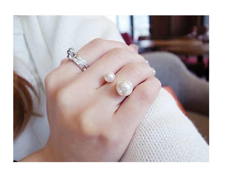 2019 new arrivals moda mulher quente anel de imitação de pérolas rua tiro acessórios anel de abertura tamanho ajustável para as mulheres de jóias