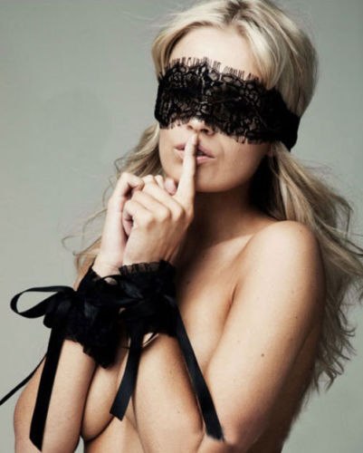 Women\'S Sexy Lingerie Black Lace Eye Covers With 1 Pair Hand Wrap Gloves