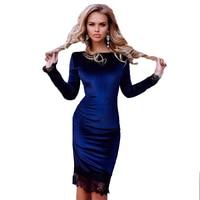 Fashion Women Long Sleeve Dress Lace Full Velvet Maxi Long Dress Black Knee Length Winter Cocktail