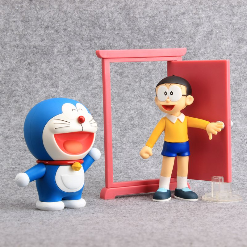 JP Anime Doraemon 3 Styles Nobita Nobi & Random Door Minamoto Shizuka PVC Action Figures Collectible Model Dolls 10-12 CM ...