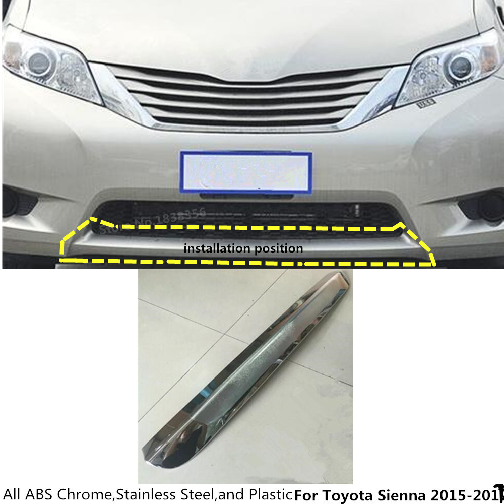 For Toyota Sienna 2015 2016 2017 Car cover protection detector ABS Chrome trims Front bottom Grid Grill Grille bumper edge 1pcs стоимость