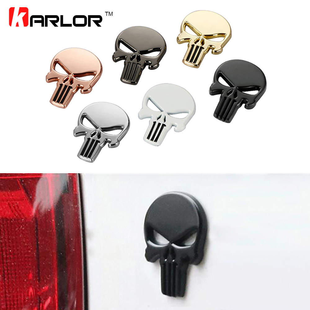 Car Styling 3D Metal The Punisher Skull Emblem Badge Car Stickers and Decals Auto Truck Motorcycle Car Accessories Automobiles