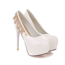 ARMOIRE Sexy Black White Green Super High Heels Women Glamour Glossy Platform Pumps Ladies AM-1 Plus Big Size 32 43 10