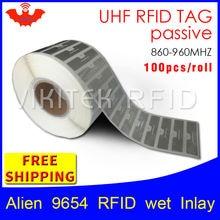 UHF RFID тег EPC 6C стикер Alien 9654 влажная инкрустация 915mhz868mhz860-960MHZ Higgs3 100 шт клейкая Пассивная RFID этикетка