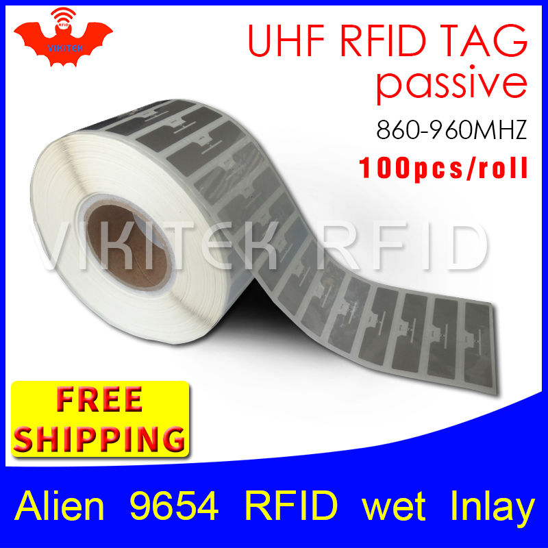 UHF RFID tag EPC 6C sticker Alien 9654 wet inlay 915mhz868mhz860-960MHZ Higgs3 100pcs free shipping adhesive passive RFID label uhf rfid tag sticker alien 9654 wet inlay 915mhz 900 868mhz 860 960mhz higgs3 epcc1g2 6c smart adhesive passive rfid tags label