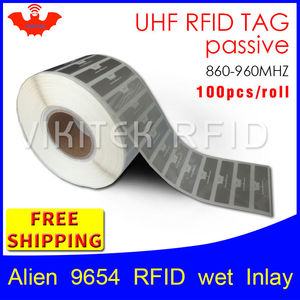 UHF RFID tag EPC 6C sticker Alien 9654 wet inlay 915mhz868mhz860-960MHZ Higgs3 100pcs free shipping adhesive passive RFID label(China)