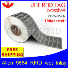 Uhf rfid tag epc 6c adesivo estrangeiro 9654 inlay molhado hihiggs3 100 pçs frete grátis adesivo etiqueta rfid passiva