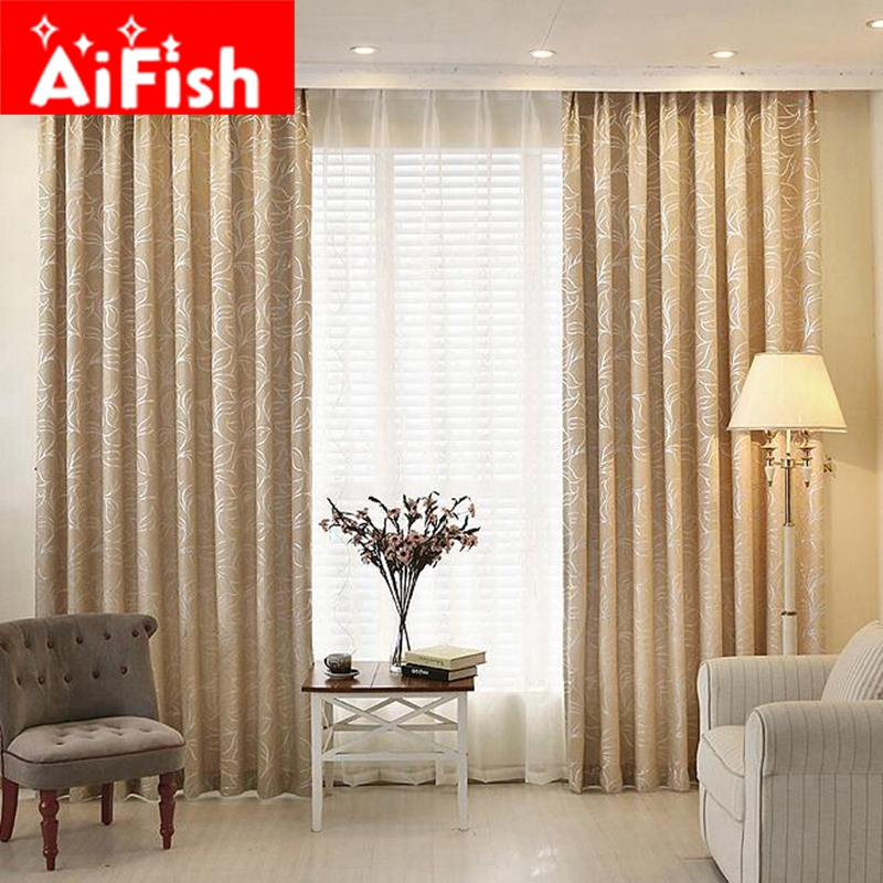 Jacquard Leaves Chenille Blinds Fabric Window Curtain For Living Room Silver Black Out Custom Shade Thermal