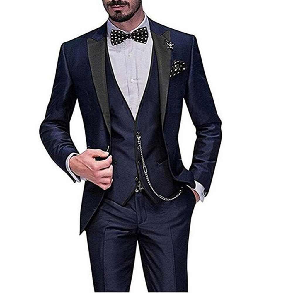 2019 último abrigo pantalones diseños verde hombres traje Slim Fit 3 piezas chaqueta esmoquin novio estilo trajes personalizado fiesta de graduación blazer Terno