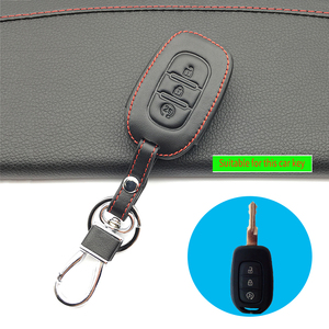 Image 3 - 100% leather car key case key cover for Renault Clio Dacia Logan Sandero Megane Modus Espace Kangoo keychain Remote control case