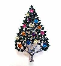 2.2 Inch Gun Black Finish Multicolored Rhinestone Crystal Diamante Vintage Christmas Tree Party Gift Brooch