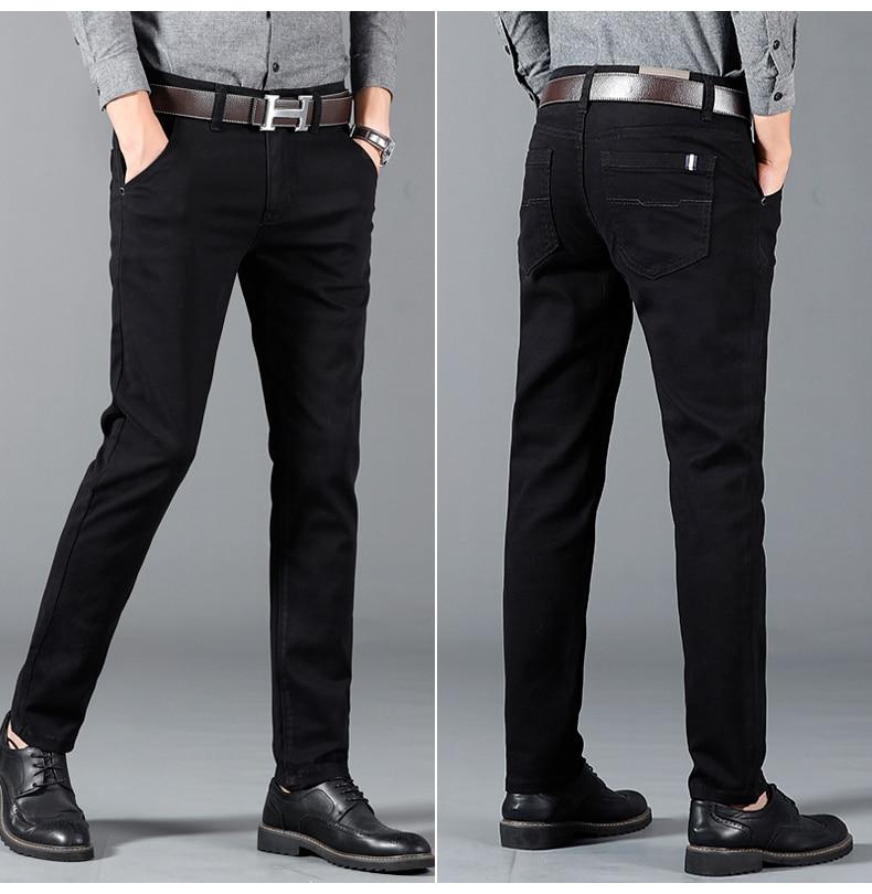 HTB1fic9atzvK1RkSnfoq6zMwVXah 6 Color Casual Pants Men 2019 Spring New Business Fashion Casual Elastic Straigh Trousers Male Brand Gray White Khaki Navy