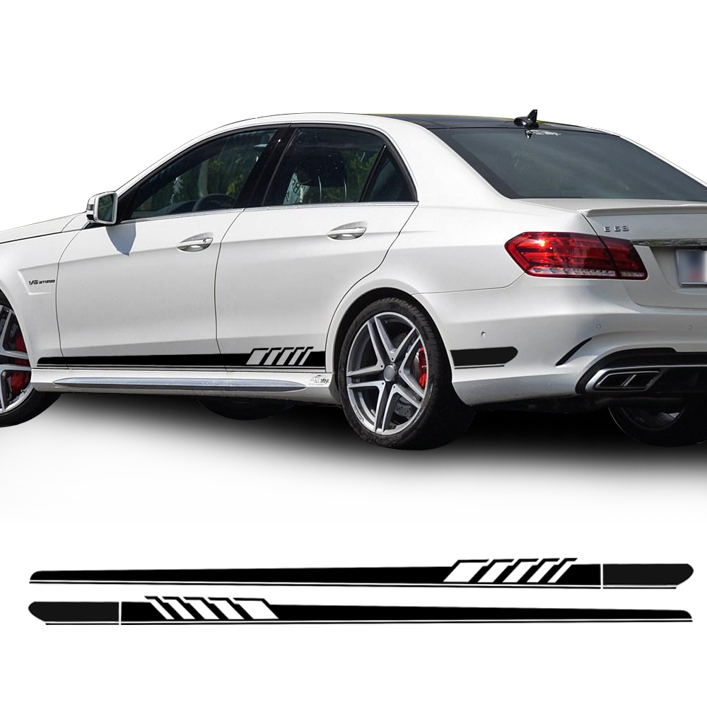 Car Styling NEW Edition 1 Style Racing Side Stripe Skirt Sill Stickers Vinyl Decal for Mercedes Benz W212 E Class E63 AMG Sport