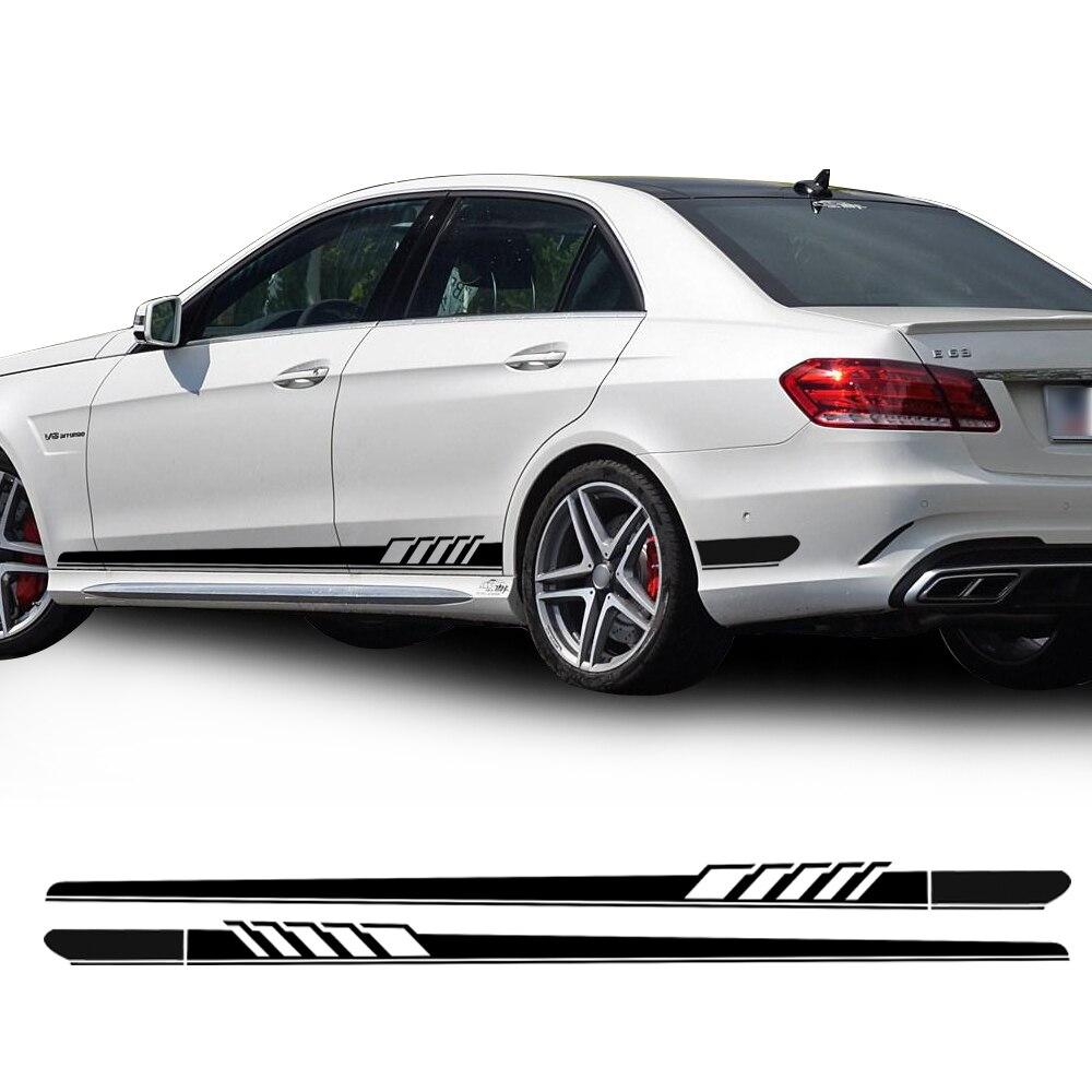 Car Styling NOUVELLE Édition 1 Style Racing Côté Bande Jupe Seuil Autocollants Vinyle Decal pour Mercedes Benz W212 E Classe e63 AMG Sport