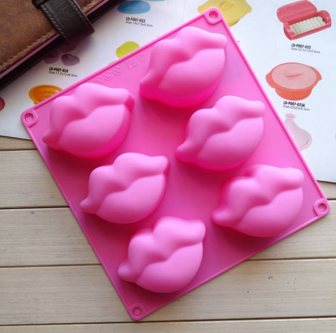 Silicone cake molds 6 with plump lips pudding jelly molds hand made soap mold in Soap Molds from Home Garden