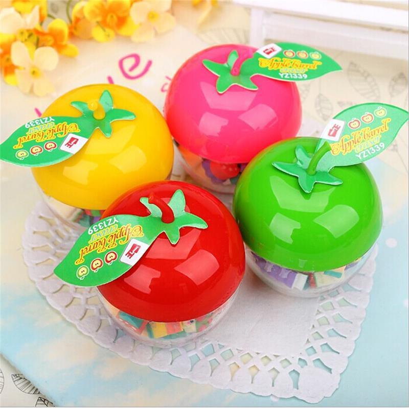 1 Pcs Korean Creative Stationery Children Cute Apple-shaped Bottled Fruit Gift Christmas Eve Apple Styling Eraser