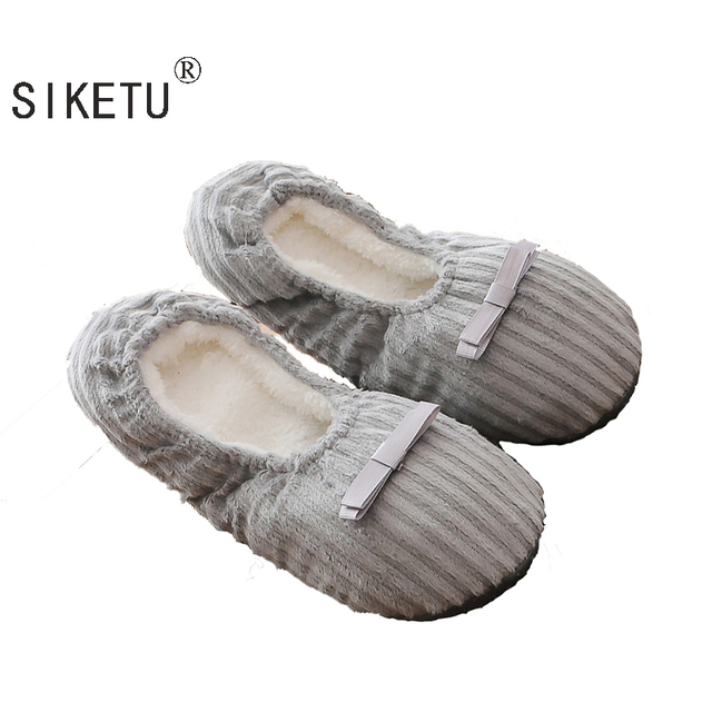 SIKETU Free shipping Hot Selling Winter Women Home Slippers For Indoor Bedroom House Soft  Cotton Warm Shoes Adult Guests Flats