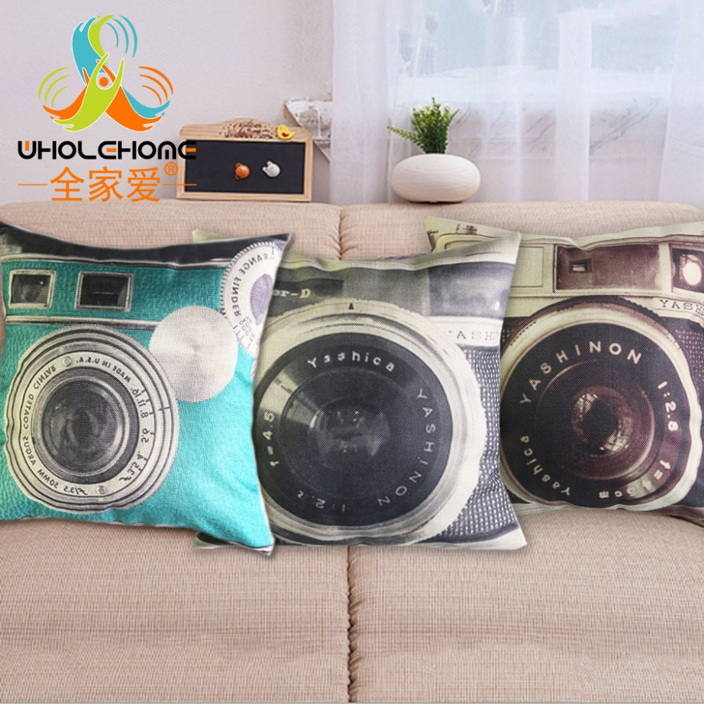 1 Pcs 45*45cm Fashion Camera Cushions Linen Cushion Cover Creative Camera  Lens Pillow For