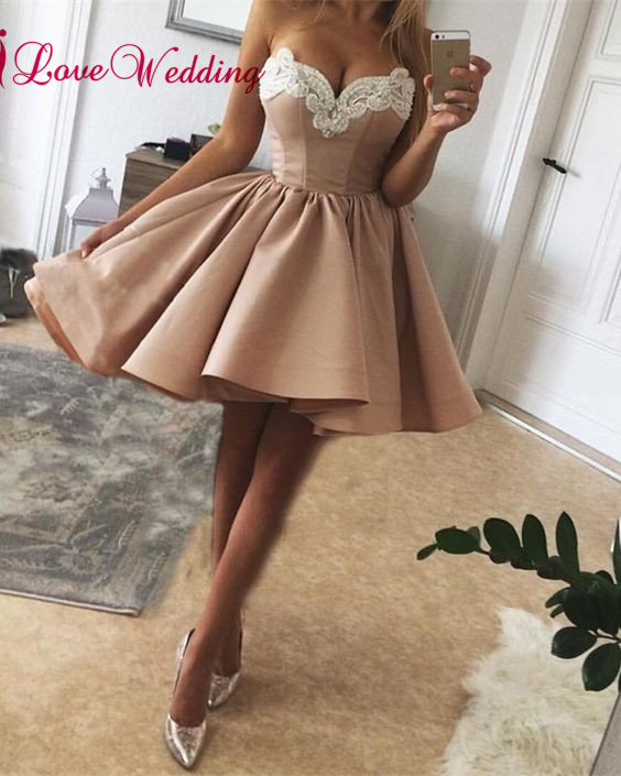 New Fashion 2018 Sweetheart Lace Applique Beaded Satin A Line Short Cheap Party   Prom     Dresses