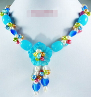 Huij 004308 Multicolor Green Red White Pearl Blue Opal Jade Shell Flower Pendant Necklace